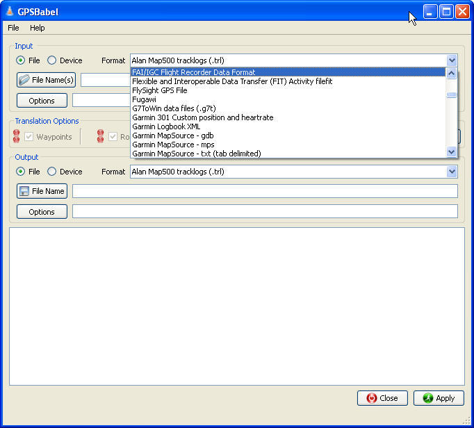 File Format Window