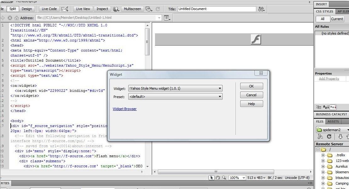 Implementation into Dreamweaver