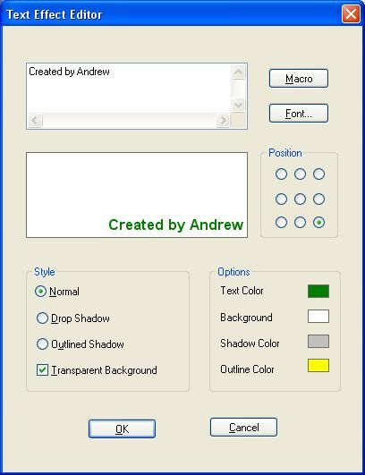 Text effect editor