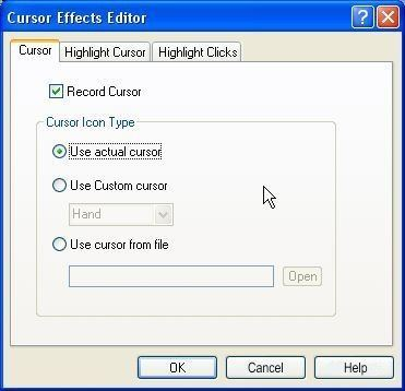 Cursor effects editor