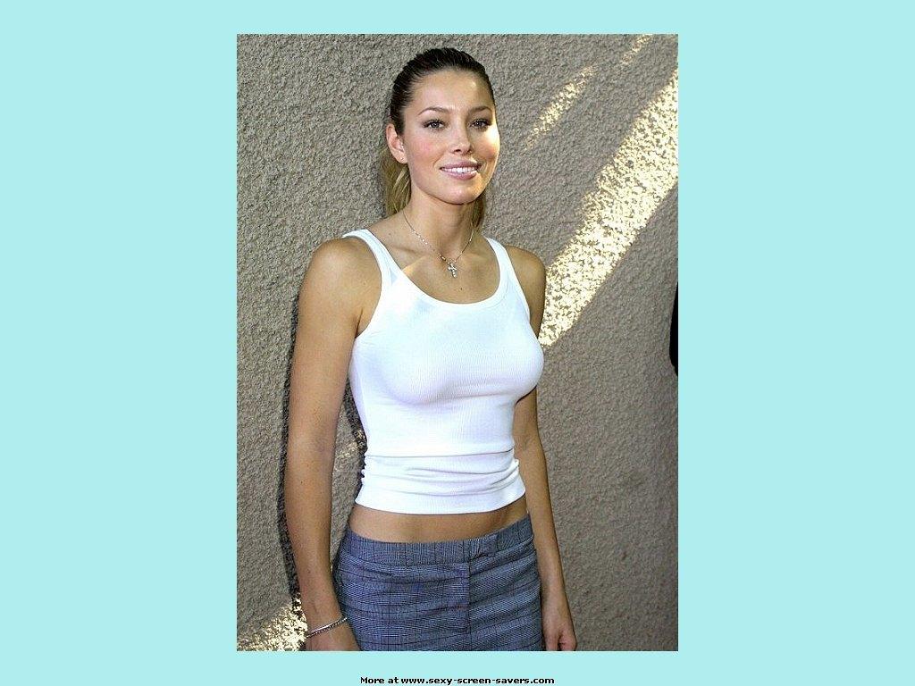 Jessica Biel Sexy Screensaver : White top