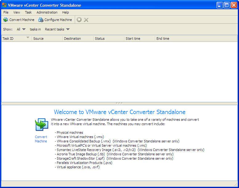 VMware vCenter Converter Standalone Main Panel