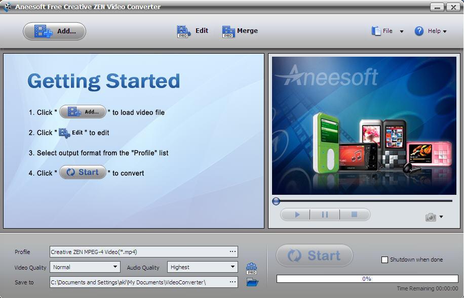 Aneesoft dvd to creative zen converter 2.9.5.0