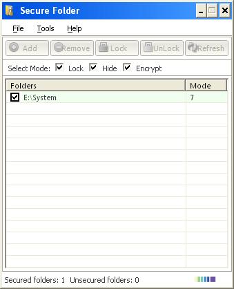 Main Window while unlocking a folder