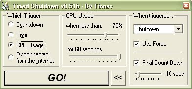 Schedule when to shutdown your computer by CPU usage