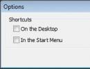 Options Window