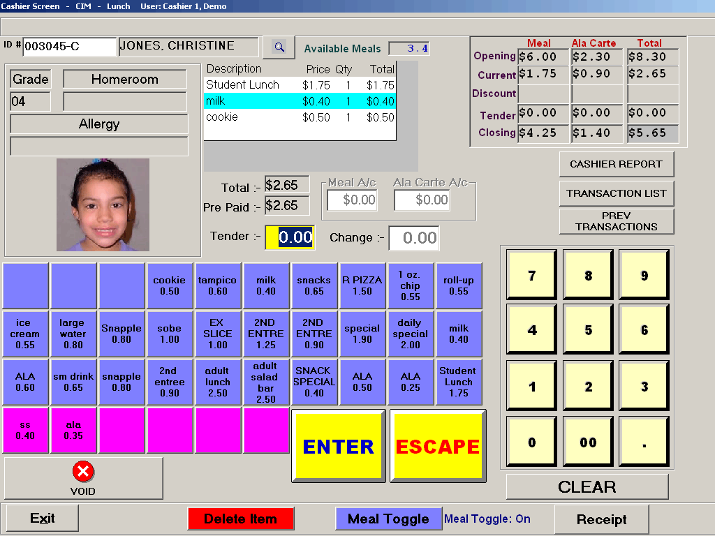 Cashiering system