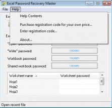 crack excel password recovery master