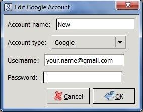 Edit Google Account dialog box