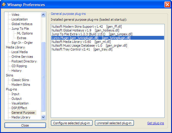 Lyrics Plugin for Winamp 0.4 : Winamp preferences