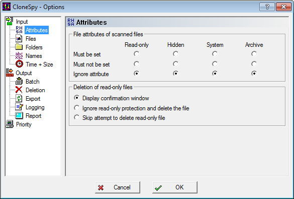 General Options - File Attribute Filters