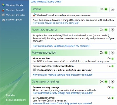 NOD32 will appear in the Malware Protection section of the Windows Security Center