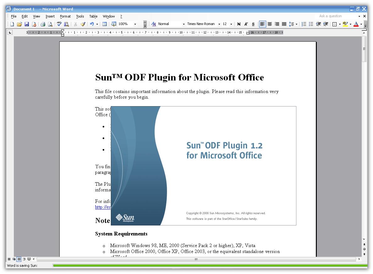 Как установить Sun ODF Plugin for Microsoft Office