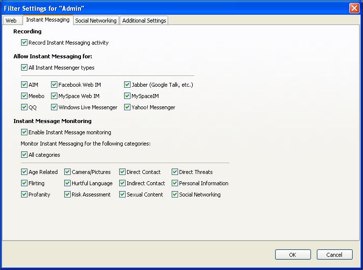 Instant Messaging Filtering Screen