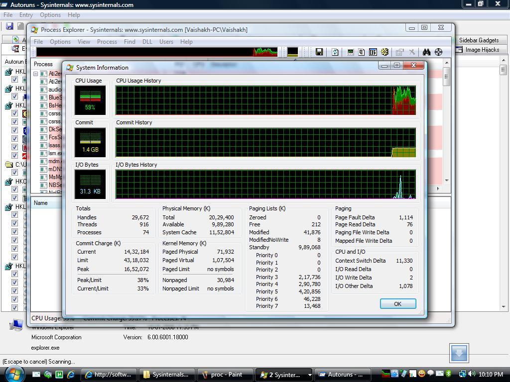 Process Explorer : System Information