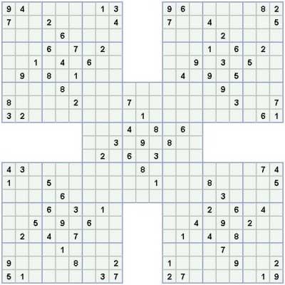 Medium Samurai Sudoku Samurai sudoku - easy