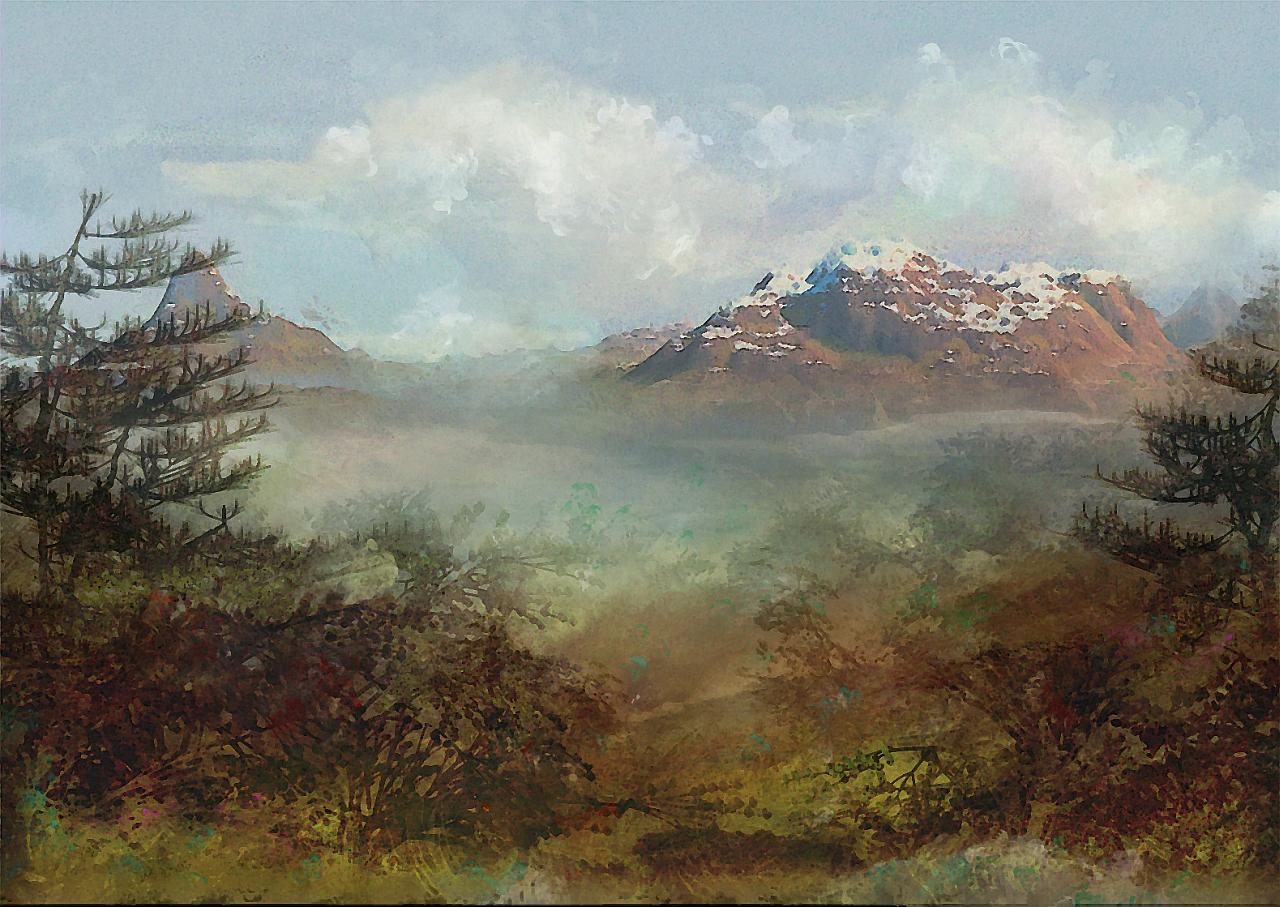 Painting over a rendered mountain, adding foliage and special look with various brushes and filters