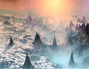 Fantasy snowy landscape on foreign planet