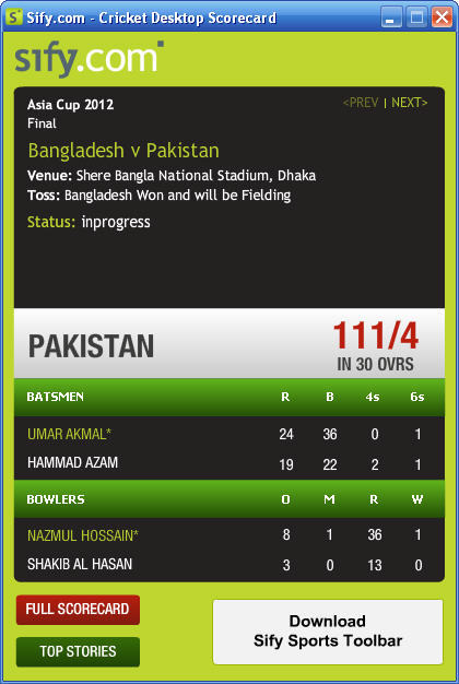 Live Cricket Scores Desktop Gadget