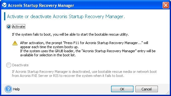 Startup recovery manager