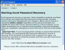 """Starting Excel Password Recovery"" Screen"