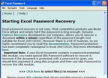 """""""Starting Excel Password Recovery"""" Screen"""