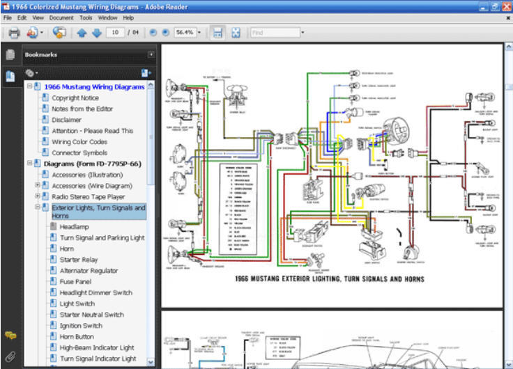 1966 mustang colorized wiring diagram 1966 mustang oil