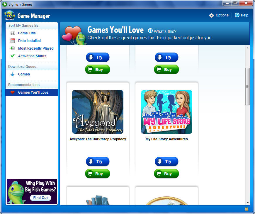 big fish games game manager software informer screenshots