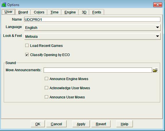 User options