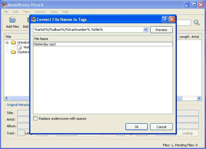 Convert files names to tags