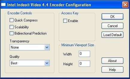 Video Codec Configuration Window