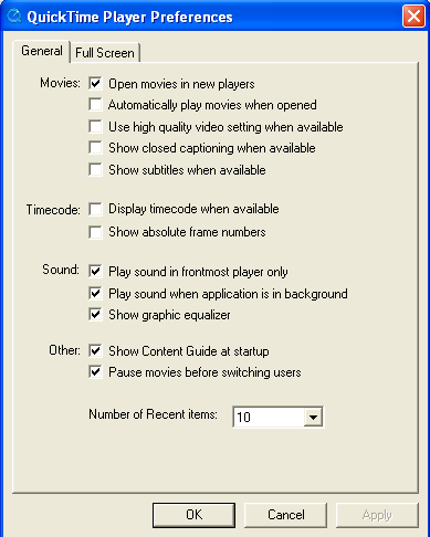 Player preferences window