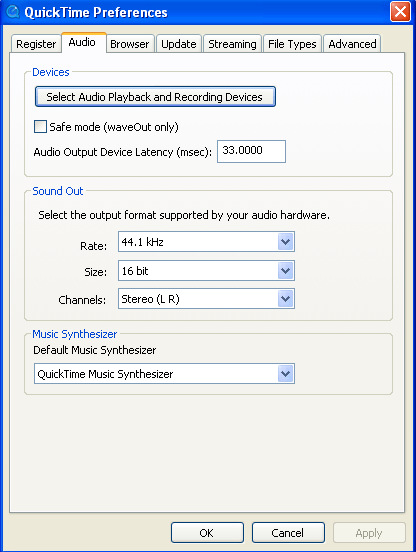 Quicktime preferences window