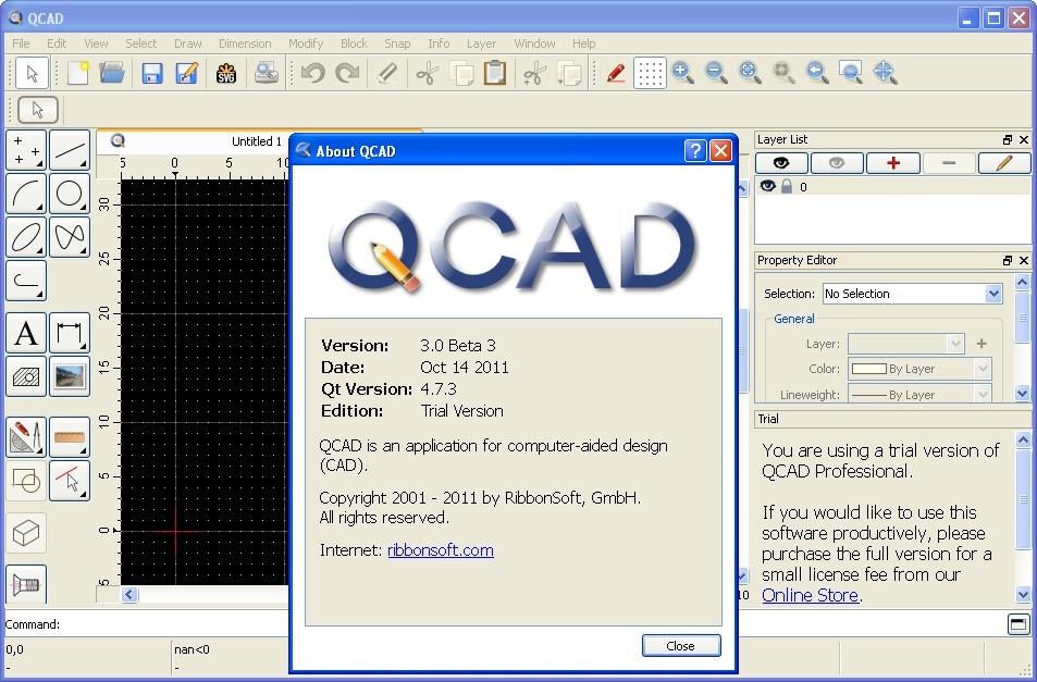 QCAD Professional Trial Beta Software Informer: Screenshots
