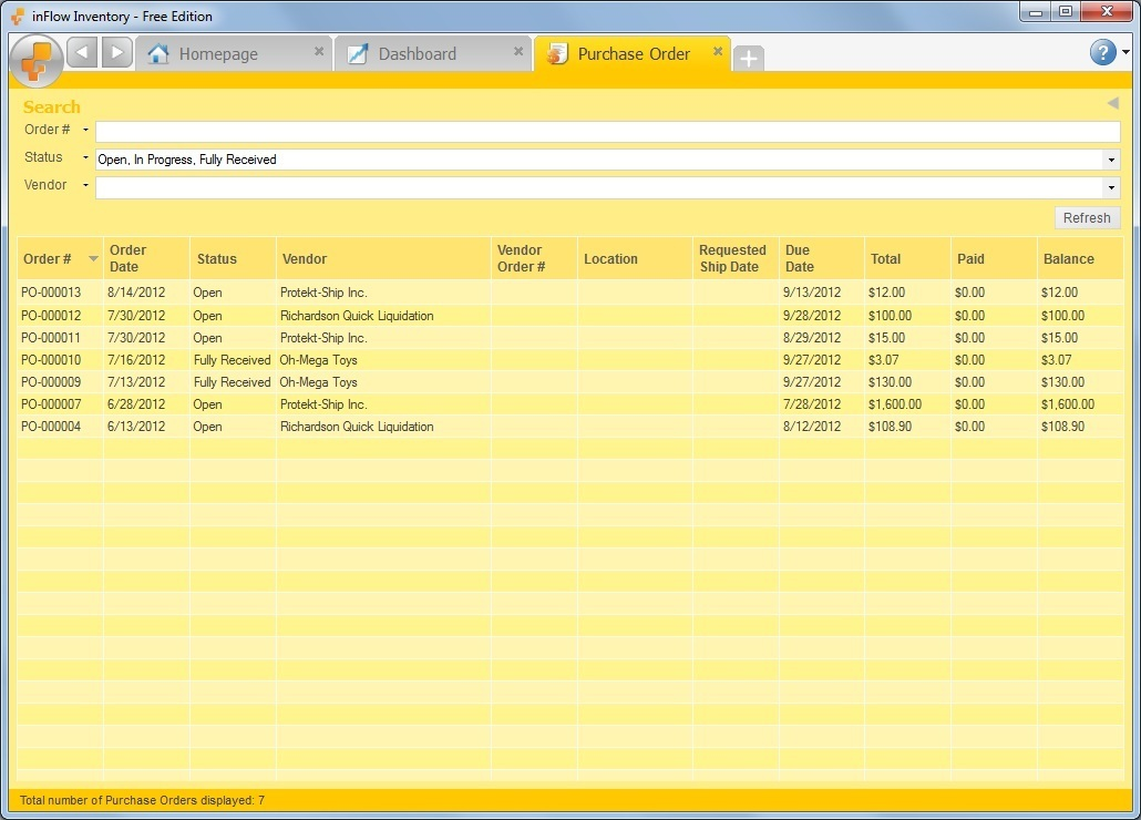 Purchase Order Example