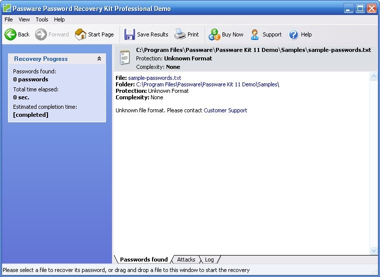 Recover password from files