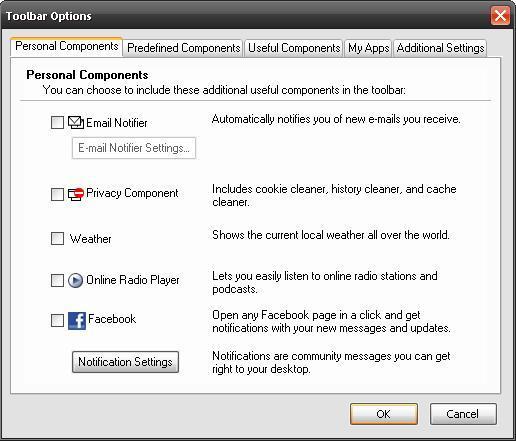 Toolbar options