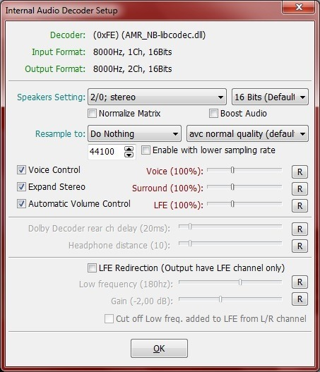 Internal Audio Decoder Setup