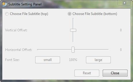 Subtitle Setting Panel