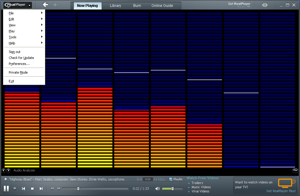 An audio file played in RealPlayer with the Option menu opened