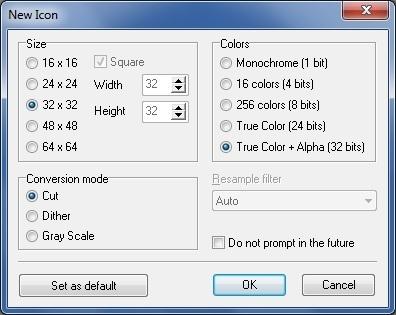 New Icon Dialog Box
