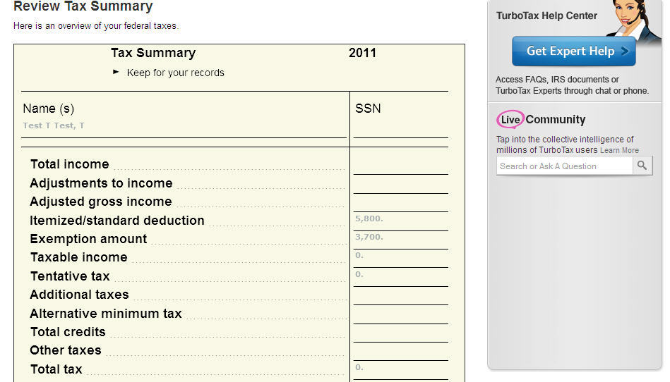 Review tax summary