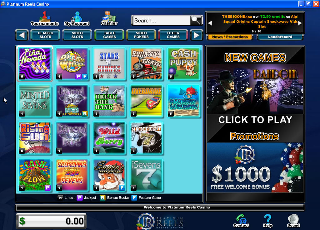 platinum casino games