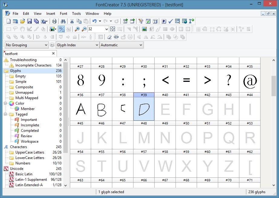 Font Overview window