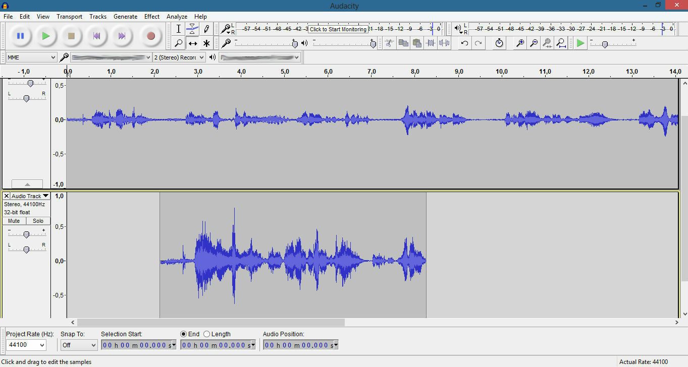 Combining two audio files