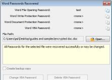 Recovered Password for Word Document