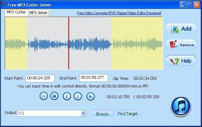 Free MP3 Cutter Joiner 9.1 : MP3 Cutter Tab. Next screenshot.