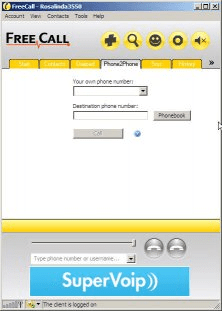 Main window - phone2phone tab