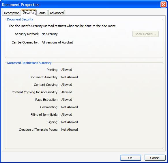 Document Property screen shot