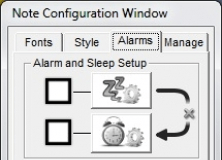 Note Configuration Window